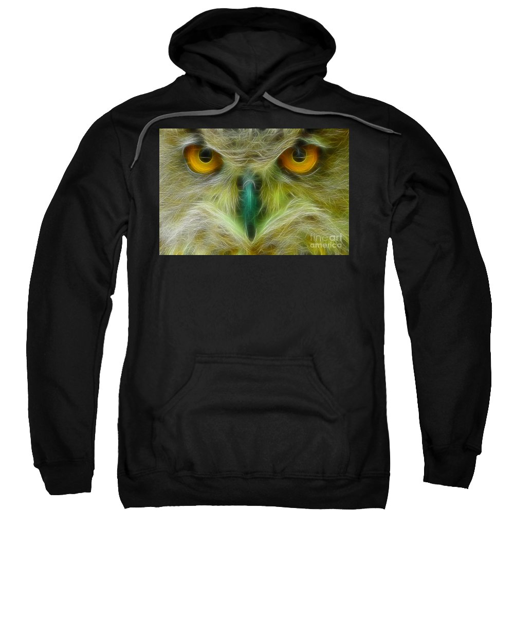 Owl Sweatshirt featuring the photograph Great Horned Eyes Fractal by Gary Gingrich Galleries