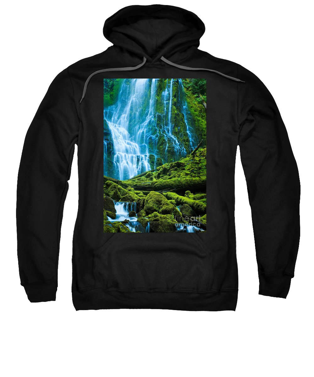America Sweatshirt featuring the photograph Green Waterfall by Inge Johnsson