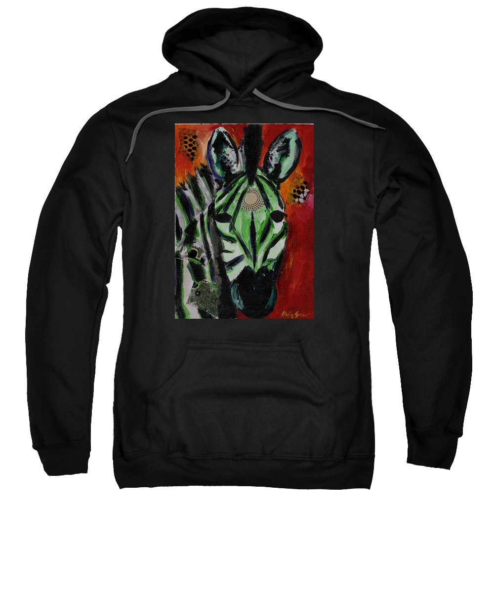 Zebra Sweatshirt featuring the painting Green Zebra Stripes by Katie Sasser