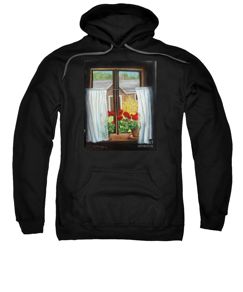 Windows Sweatshirt featuring the painting Greet The Day by Laurie Morgan