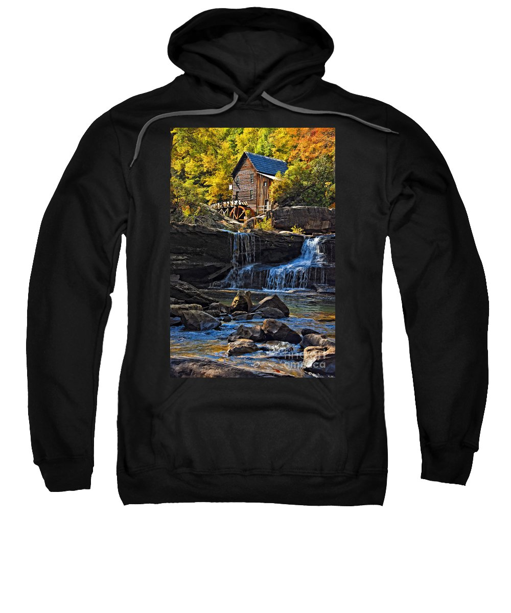 Gristmill Sweatshirt featuring the photograph Grist Mill In Babcock State Park West Virginia by Kathleen K Parker
