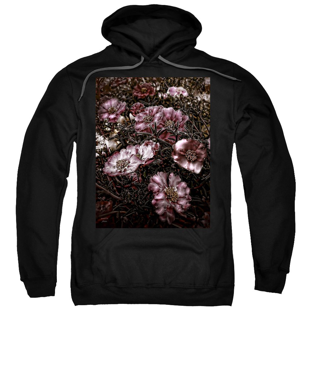 Portulaca Sweatshirt featuring the photograph Grundgy Pink Portulaca by Bonnie Willis