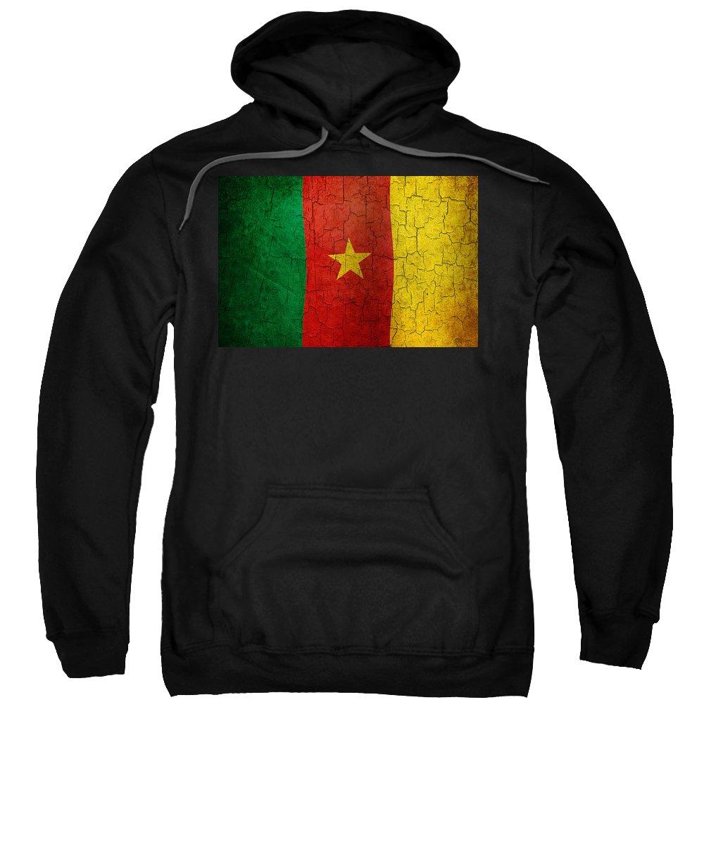 Aged Sweatshirt featuring the digital art Grunge Cameroon Flag by Steve Ball