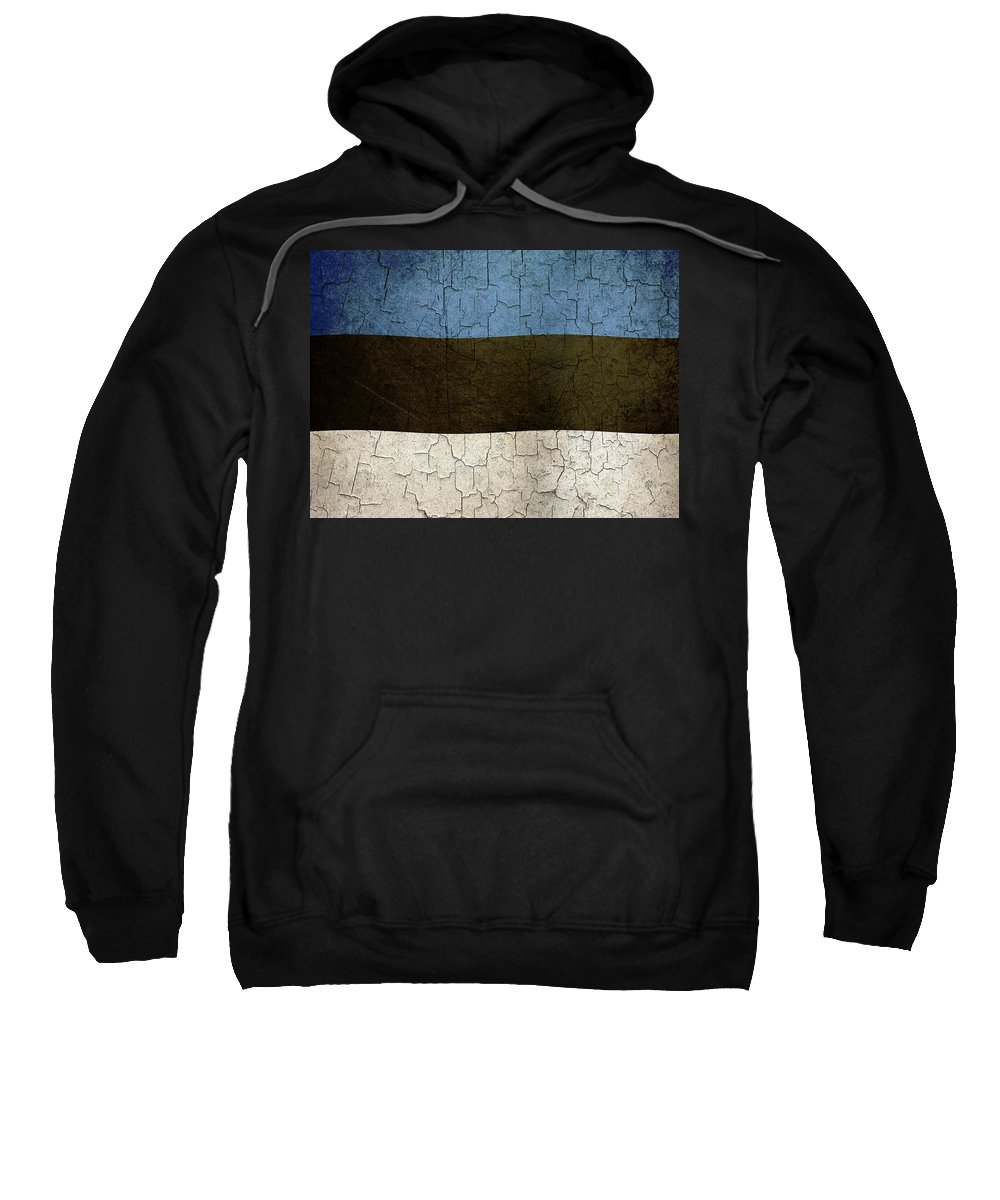 Aged Sweatshirt featuring the digital art Grunge Estonia Flag by Steve Ball