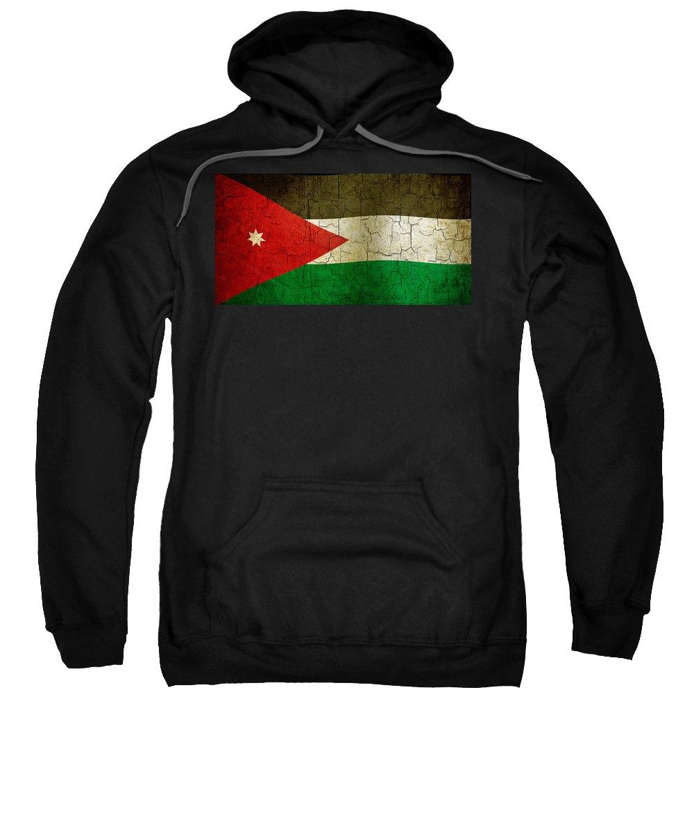 Aged Sweatshirt featuring the digital art Grunge Jordan Flag by Steve Ball
