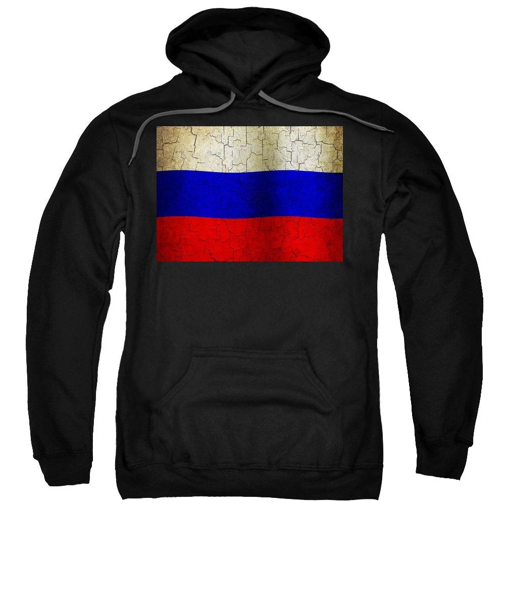 Aged Sweatshirt featuring the digital art Grunge Russia Flag by Steve Ball