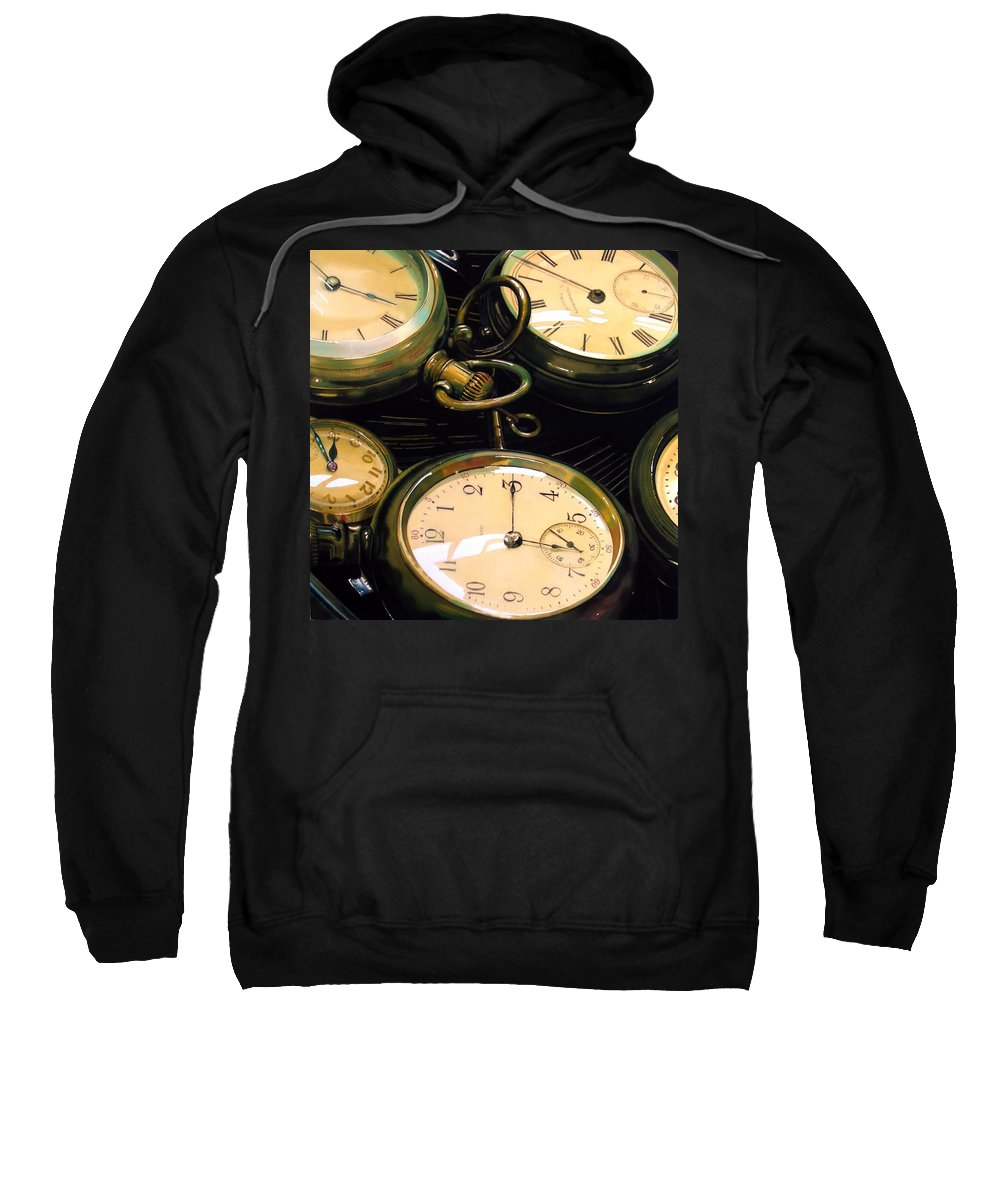 Clocks Sweatshirt featuring the painting Guardians Of Time by Denny Bond