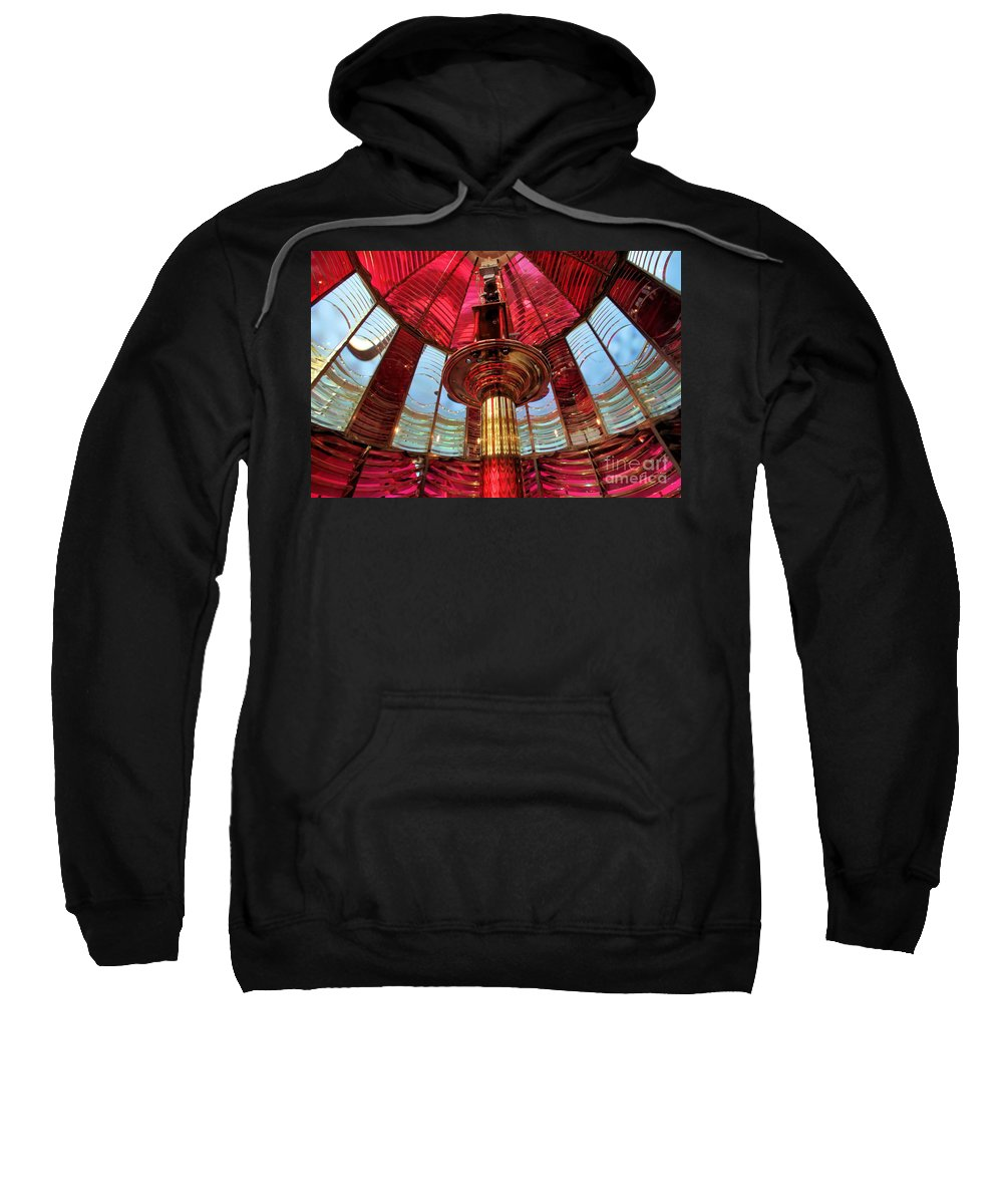 First Order Fresnel Lens Sweatshirt featuring the photograph Guiding Red Light by Adam Jewell