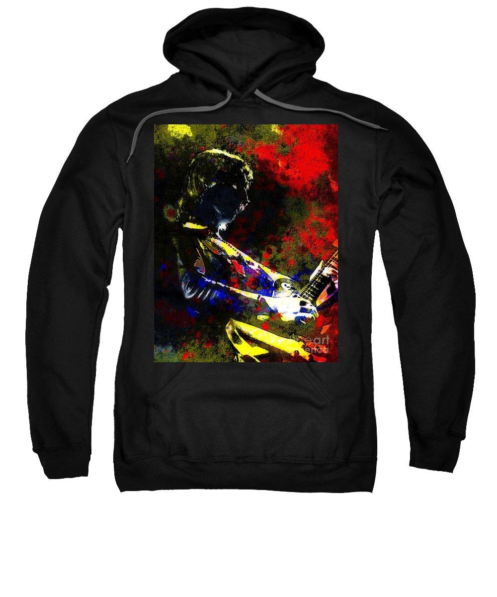 Pop Art Sweatshirt featuring the mixed media Guitar Man by Brian Raggatt