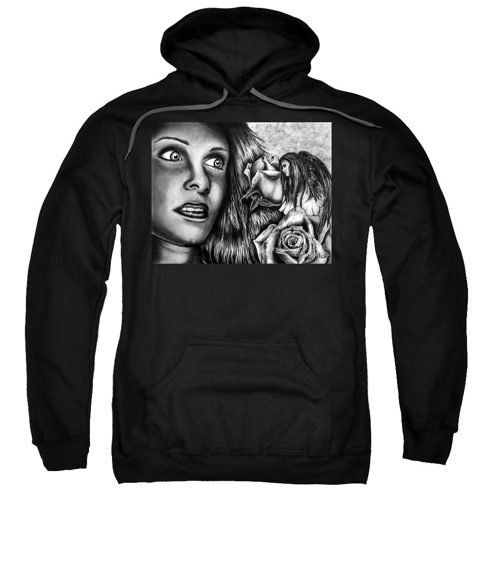 Haleys Apparition Sweatshirt featuring the drawing Haleys Apparition by Peter Piatt