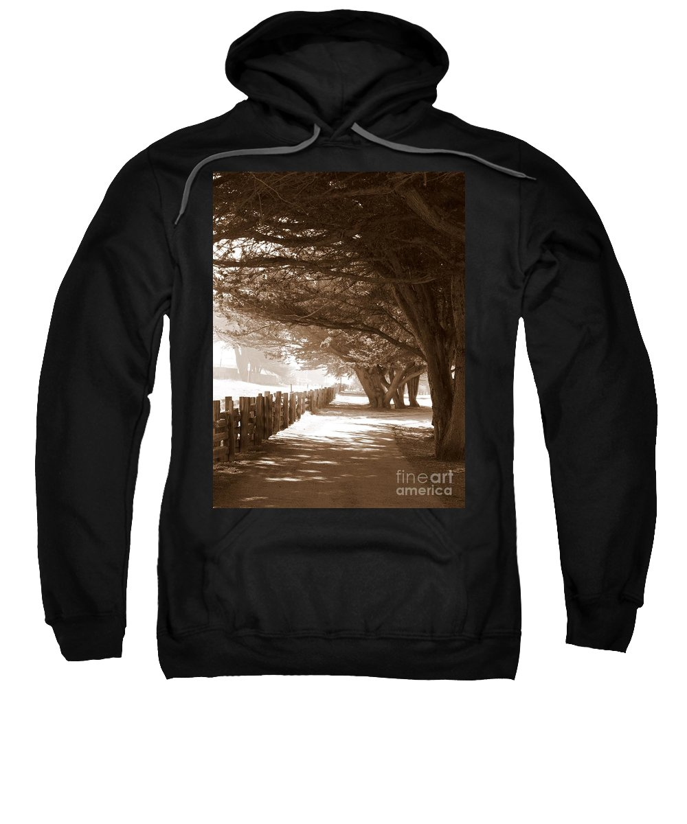 Sepia Sweatshirt featuring the photograph Half Moon Bay Pathway by Carol Groenen