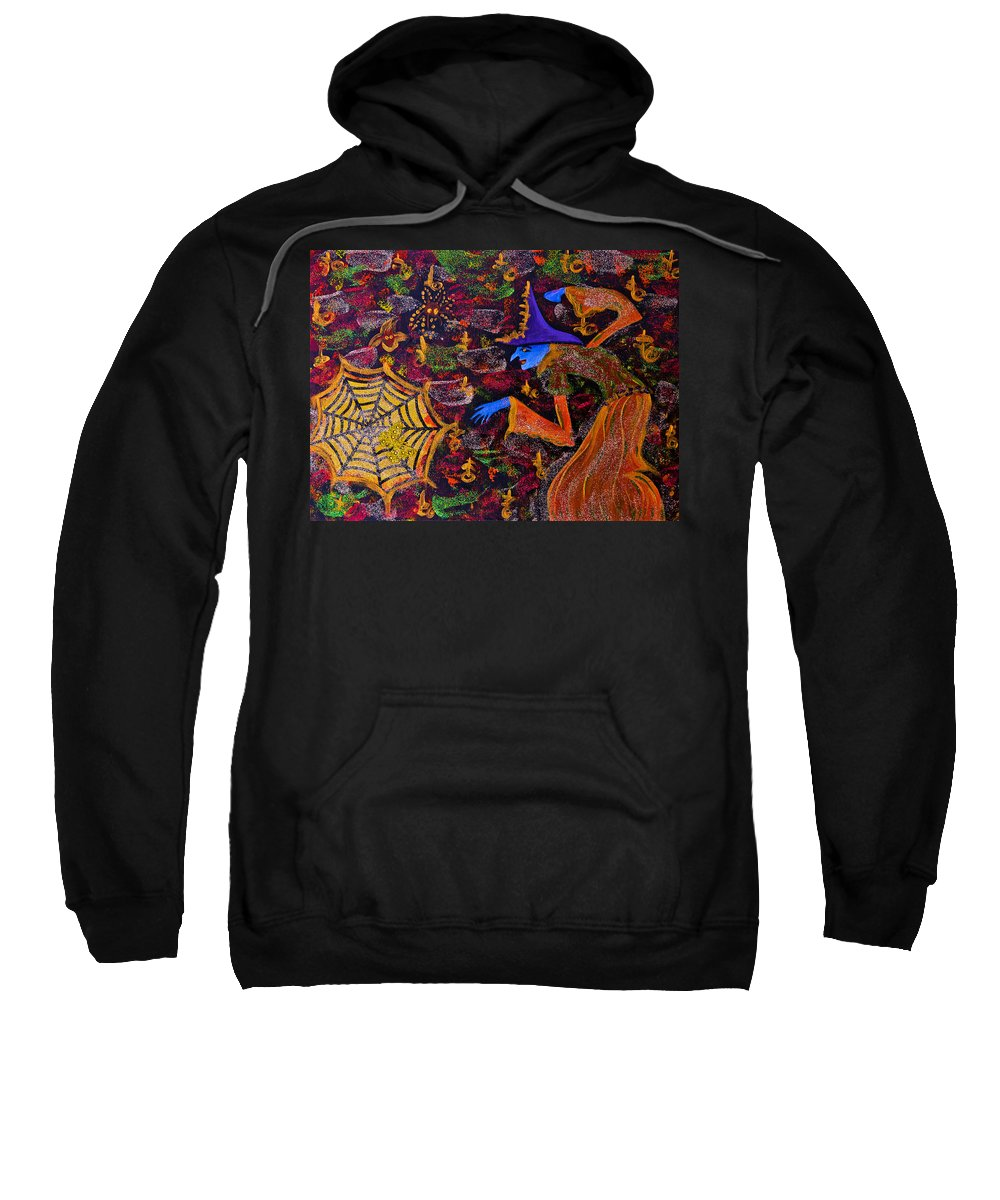 Halloween Sweatshirt featuring the painting Halloween Witch by Alex Art and Photo