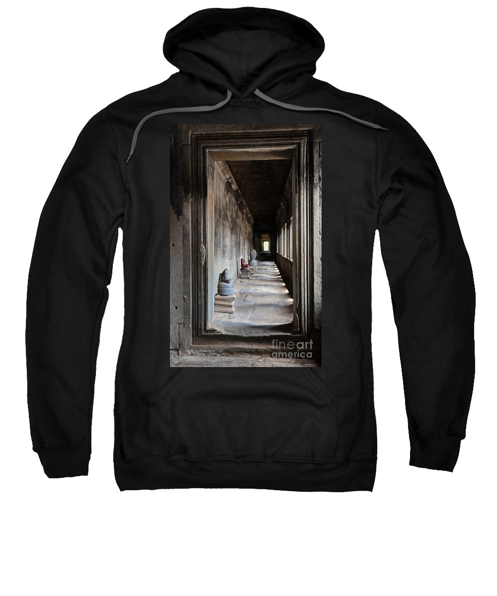 Hallway Sweatshirt featuring the photograph Hallway At Angkor Wat by Vivian Christopher
