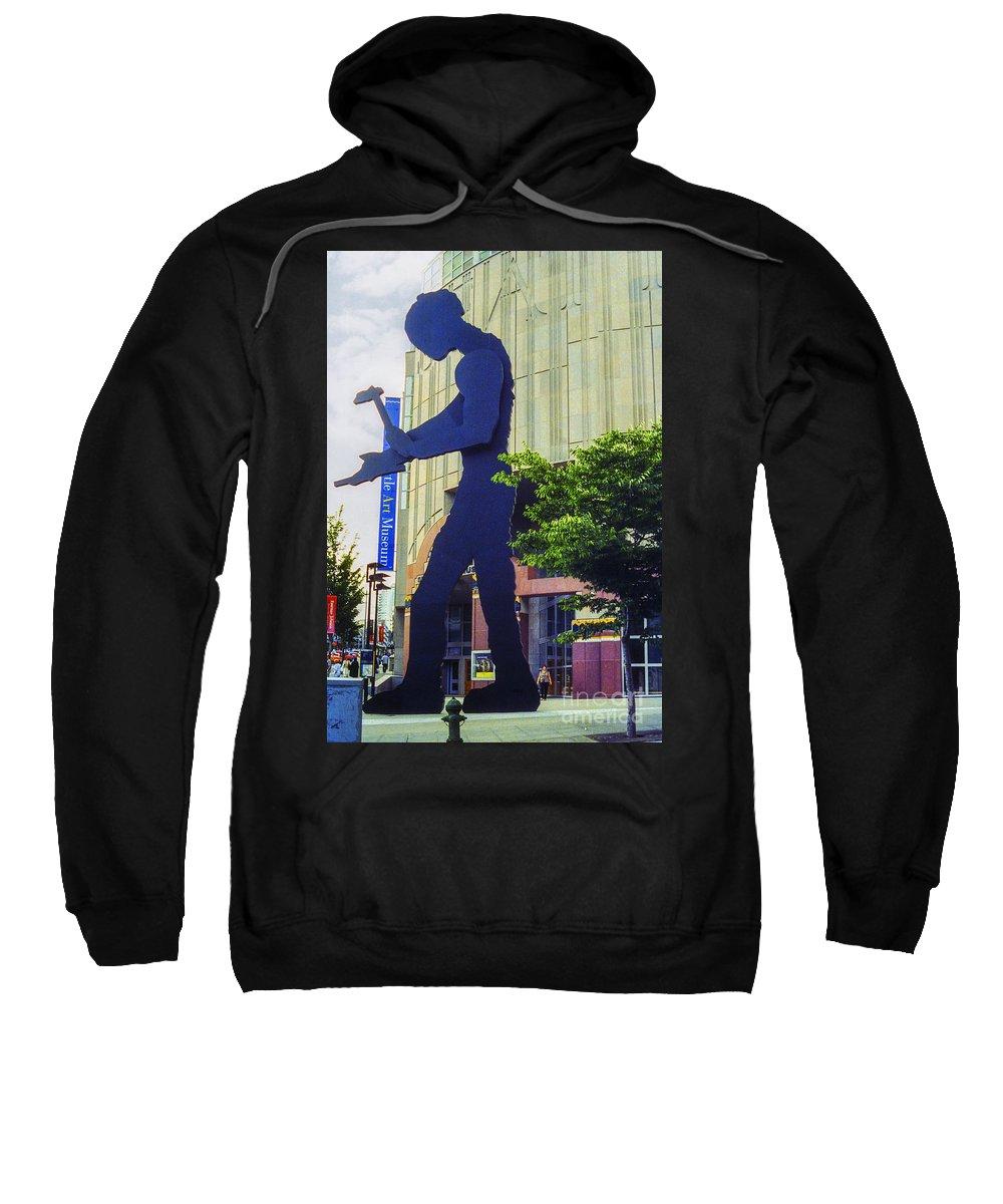 Hammering Man Sweatshirt featuring the photograph Hammering Man by Bob Phillips