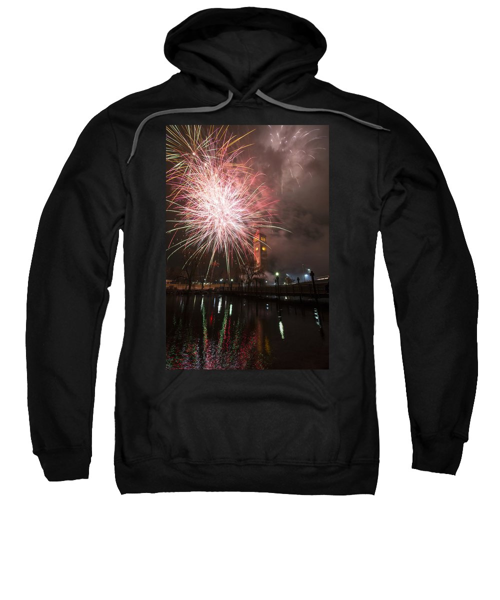 Fireworks Sweatshirt featuring the photograph Happy New Year 2014 B by Paul DeRocker