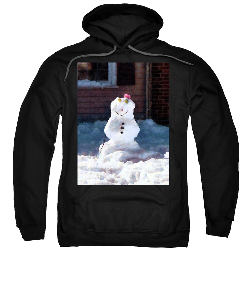 Snowman Sweatshirt featuring the photograph Happy Snowman by Susan Savad