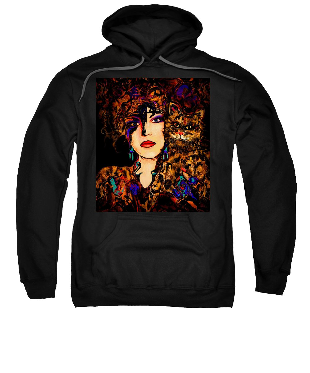 Woman With Cat Sweatshirt featuring the mixed media Happy Together by Natalie Holland