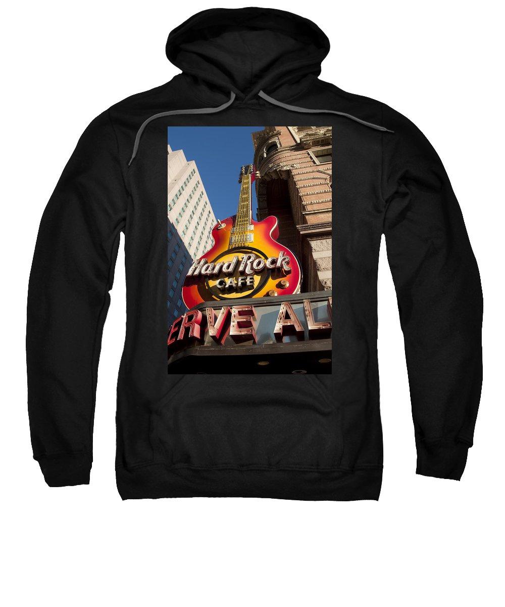 Hard Rock Cafe Guitar Sign In Philadelphia Sweatshirt featuring the photograph Hard Rock Cafe Guitar Sign In Philadelphia by Bill Cannon