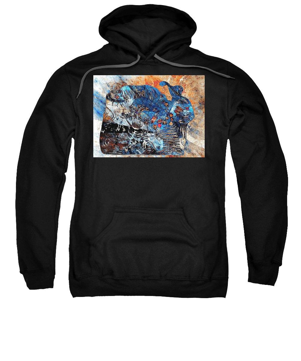 Graphic Sweatshirt featuring the painting Hare 682 -marucii by Marek Lutek