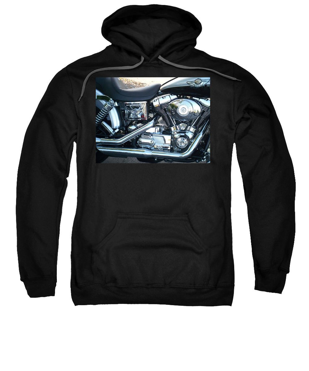 Motorcycles Sweatshirt featuring the photograph Harley Black And Silver Sideview by Anita Burgermeister