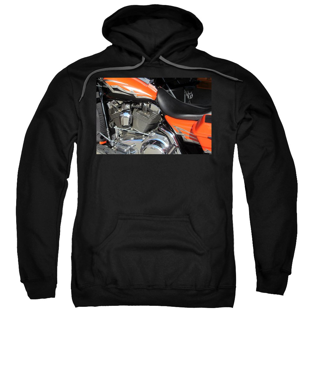 Motorcycles Sweatshirt featuring the photograph Harley Close-up Orange 1 by Anita Burgermeister