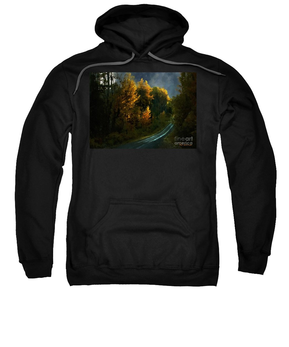 Landscape Sweatshirt featuring the painting Harvest Moon Another Starry Night by RC DeWinter