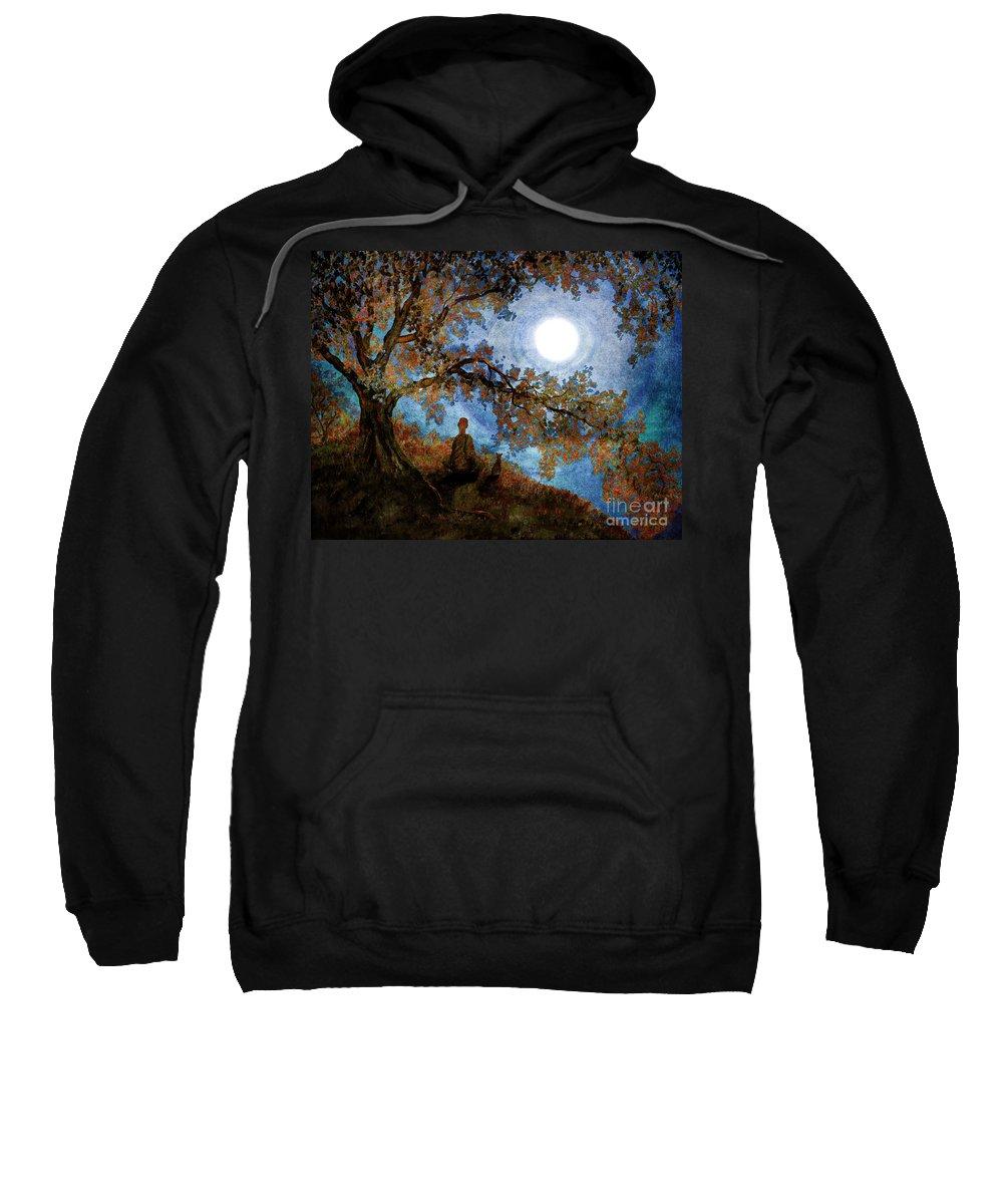 Zen Sweatshirt featuring the digital art Harvest Moon Meditation by Laura Iverson