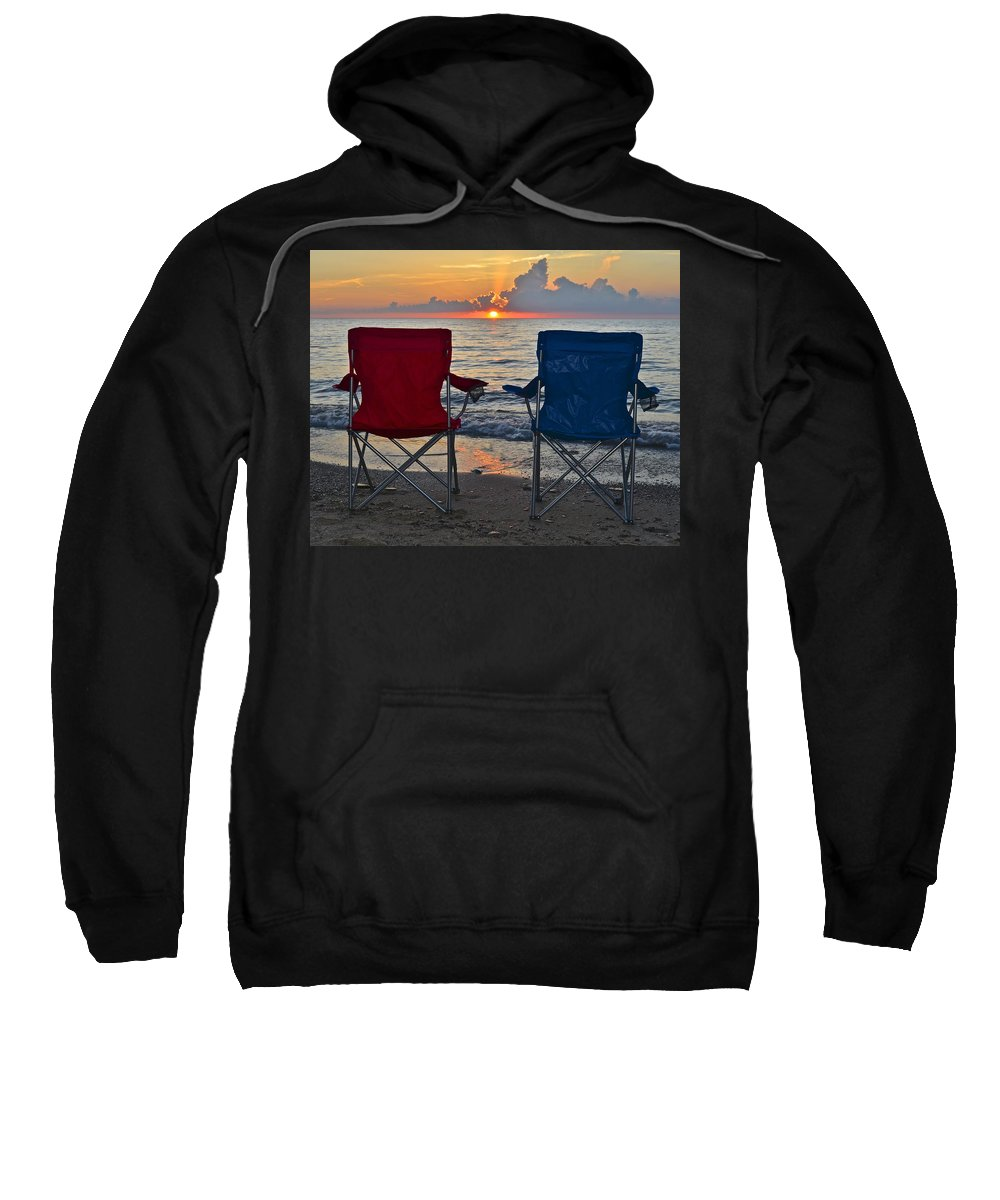 Beach Sweatshirt featuring the photograph Have A Seat by Frozen in Time Fine Art Photography