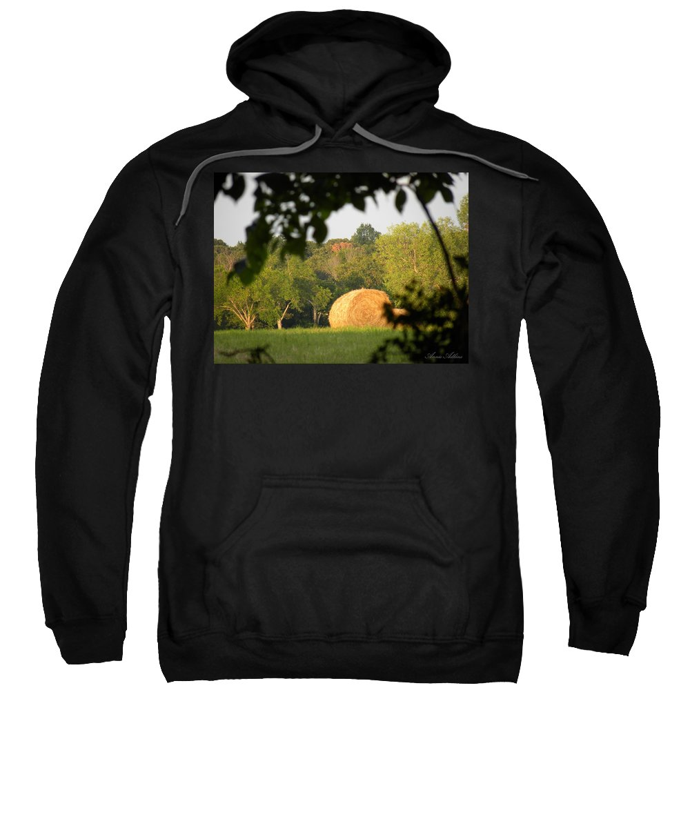 Hay Bale Sweatshirt featuring the photograph Hay Bale by Annie Adkins
