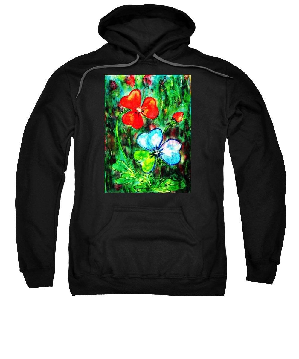 Shamrocks Sweatshirt featuring the painting Heart Flowers by Hazel Holland