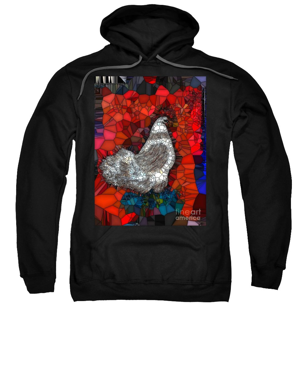 Hen Sweatshirt featuring the painting Hen Watch I by Saundra Myles