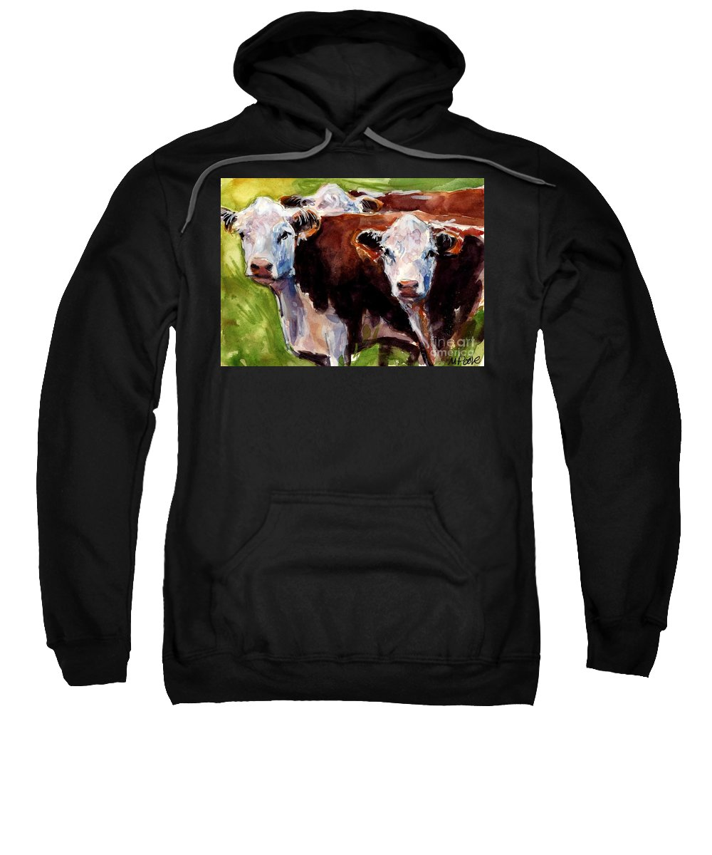Hereford Cows Sweatshirt featuring the painting Hereford Ears by Molly Poole