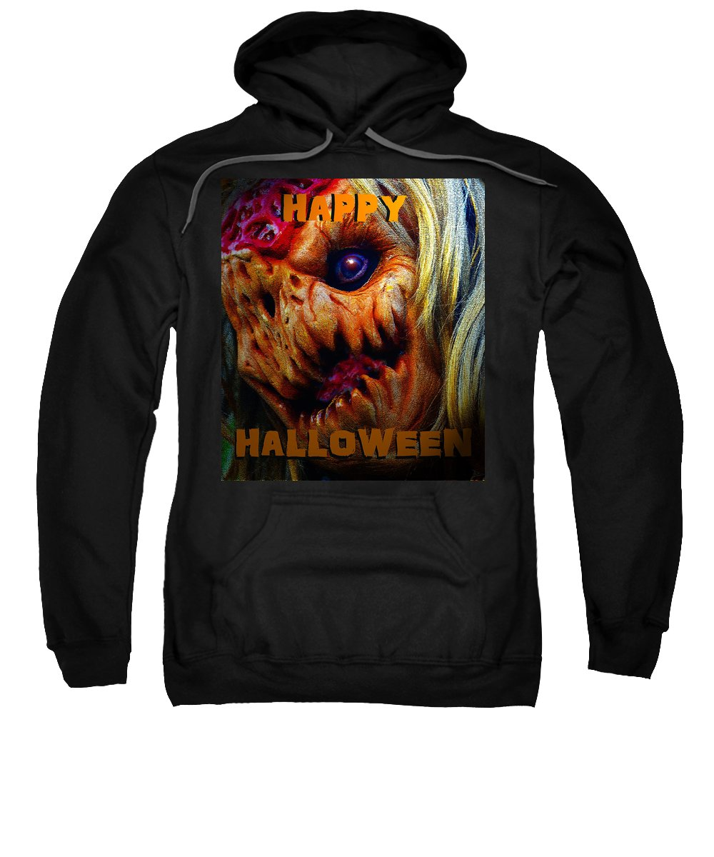 Happy Halloween Sweatshirt featuring the painting Hh Face Work A by David Lee Thompson