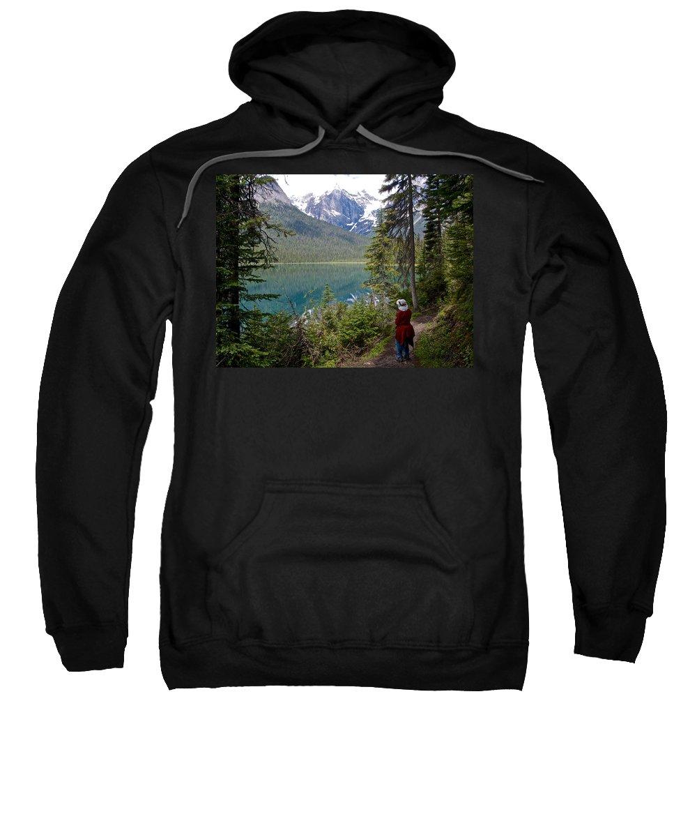 Hiking On Emerald Lake Trail In Yoho Np Sweatshirt featuring the photograph Hiking On Emerald Lake Trail In Yoho Np-bc by Ruth Hager