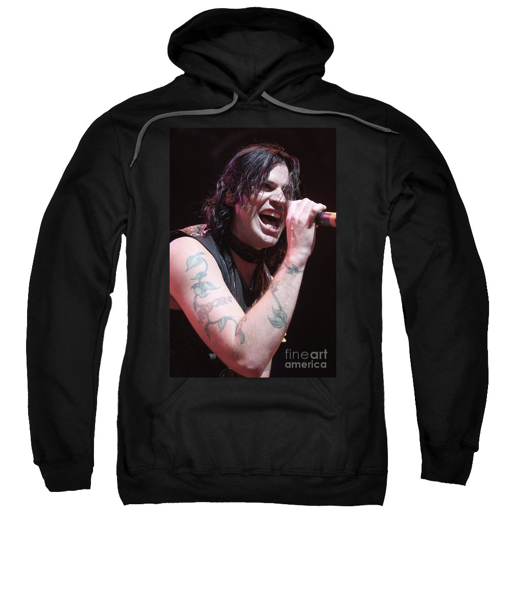 Singer Sweatshirt featuring the photograph Hinder by Concert Photos