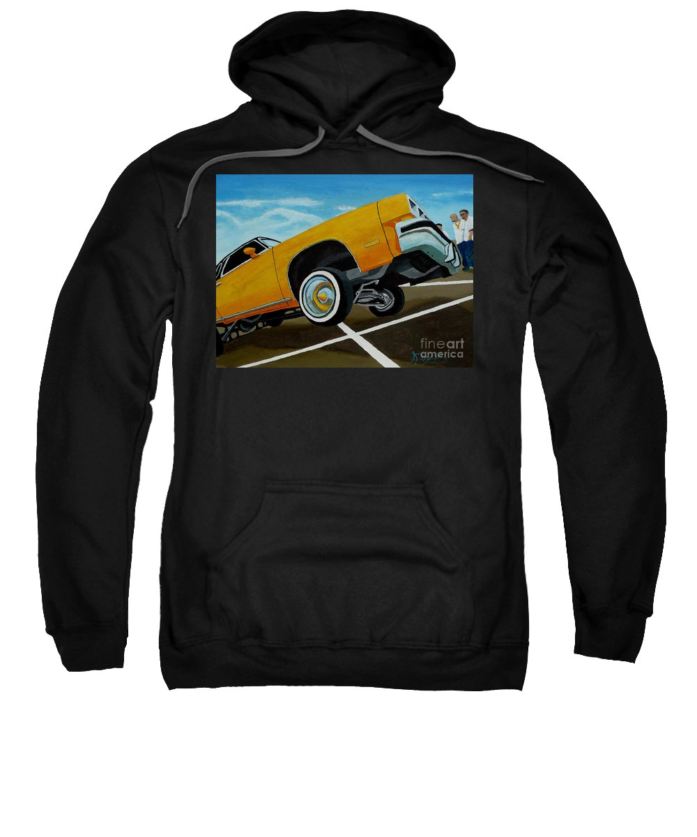 Chevy Sweatshirt featuring the painting Hip Hoppin Chevy by Anthony Dunphy
