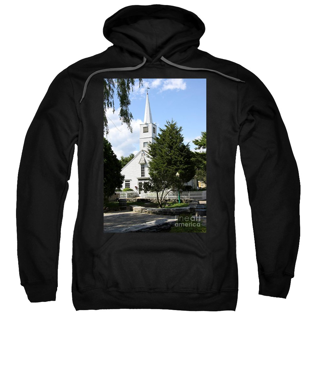 Historic Mystic Sweatshirt featuring the photograph Historic Mystic Church - Connecticut by Christiane Schulze Art And Photography