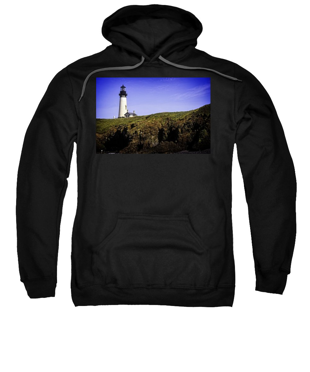 Newport Sweatshirt featuring the photograph Historic Yaquina Lighthouse by Image Takers Photography LLC - Carol Haddon