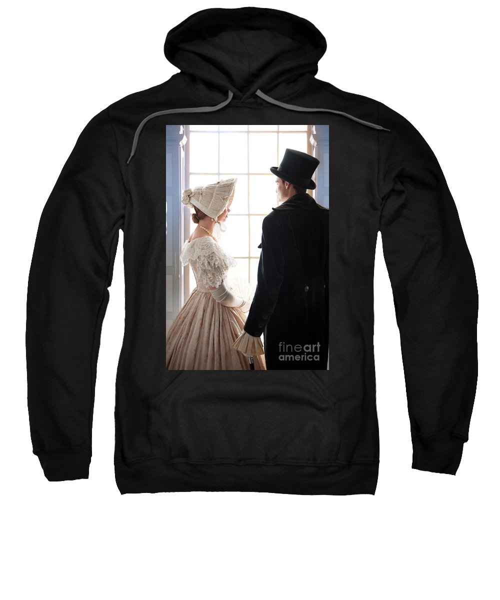 Victorian Sweatshirt featuring the photograph Historical Couple Standing By A Window by Lee Avison