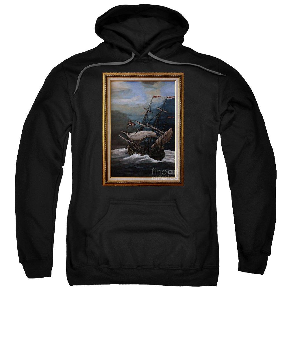 Battle Of Trafalgar Sweatshirt featuring the painting Hms Royal Prince 1670 by Richard John Holden RA