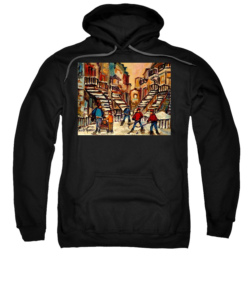 Montreal Sweatshirt featuring the painting Hockey Game Near Winding Staircases Montreal Streetscene by Carole Spandau