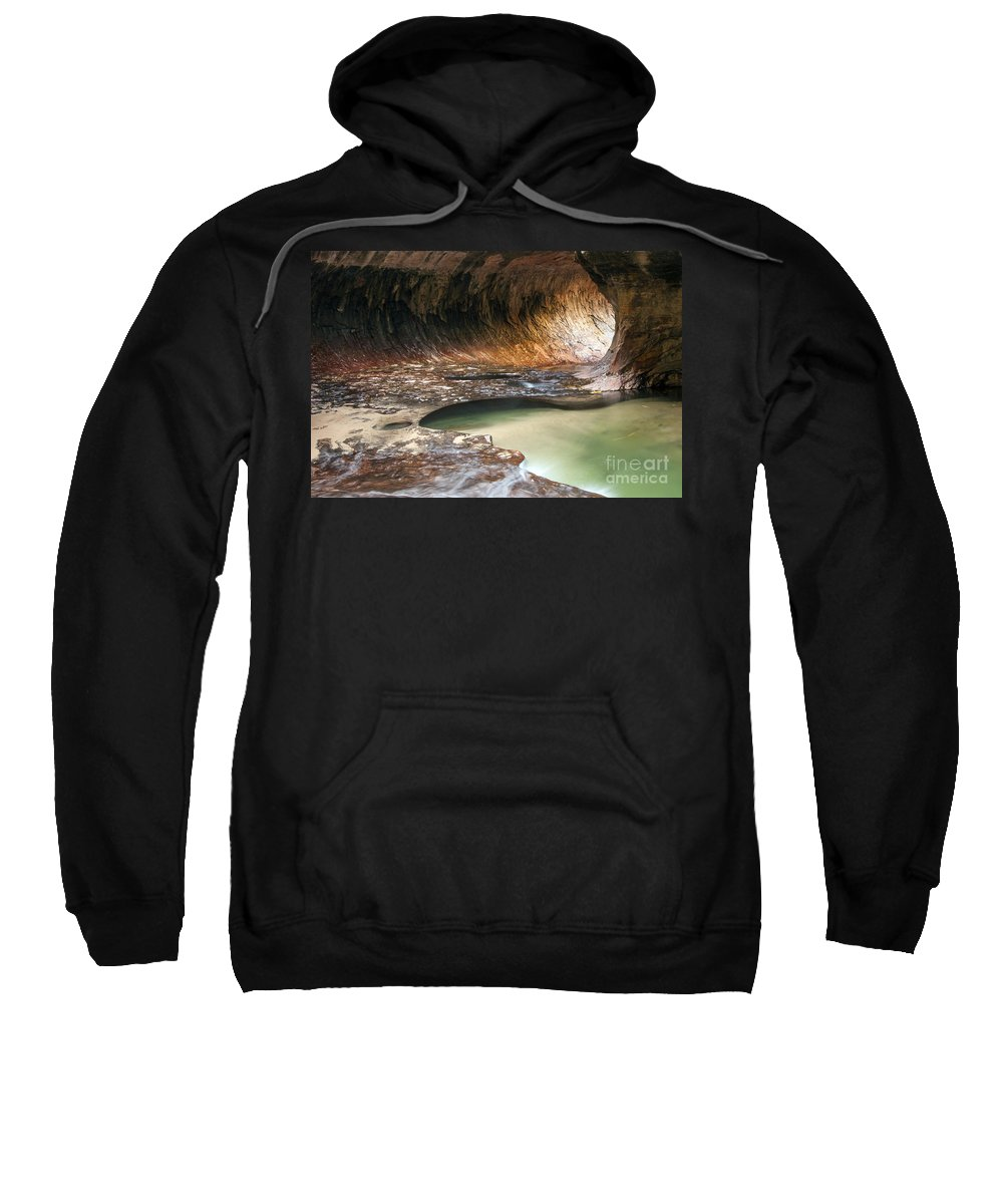 The Subway Left Fork North Creek Trail Zion National Park Utah Trails Water Rock Hole Holes Pool Pools Underground Waterscape Waterscapes Landscape Landscapes Sweatshirt featuring the photograph Hole In The Wall by Bob Phillips