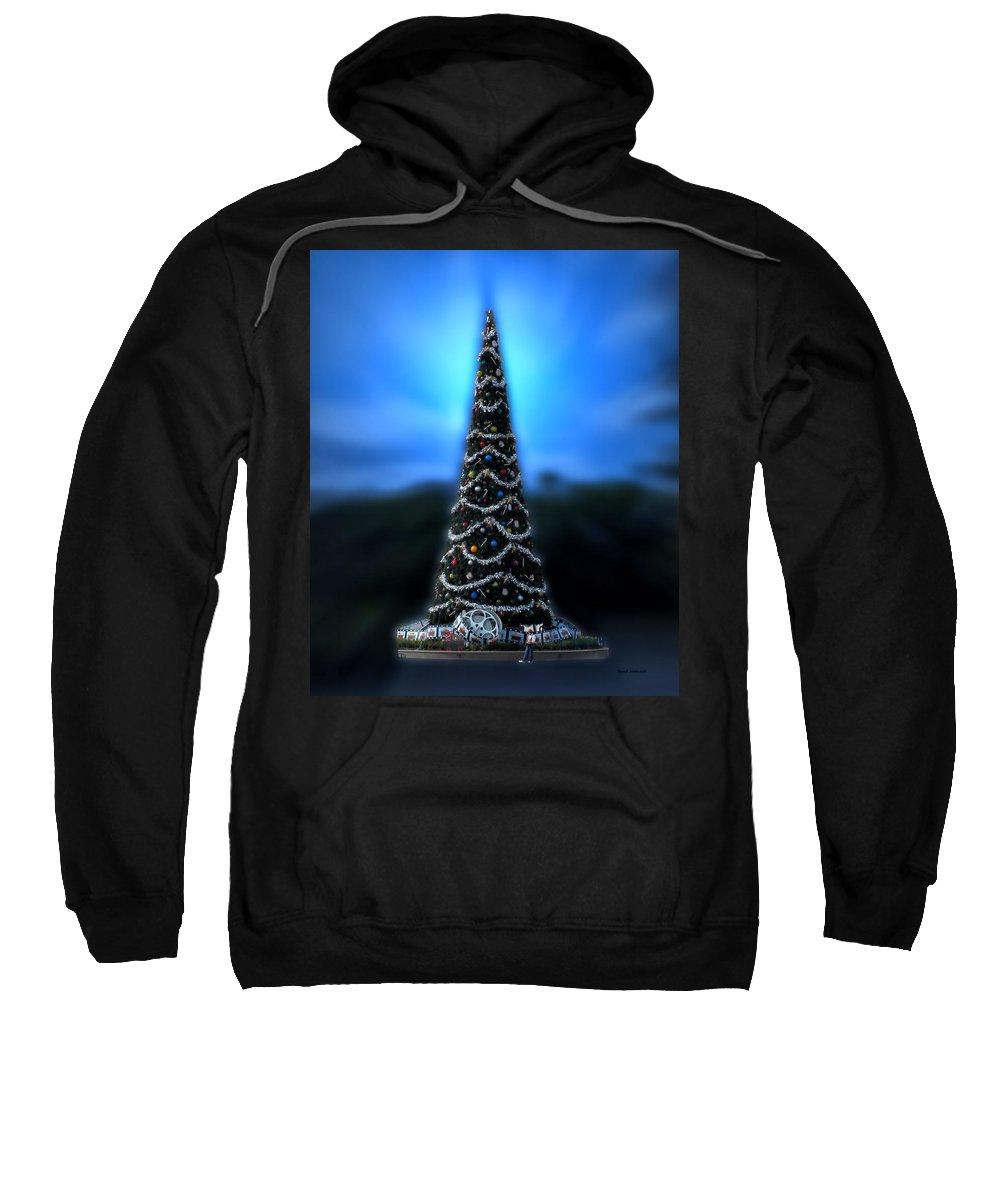 Magic Kingdom Sweatshirt featuring the photograph Hollywood Xmas Tree Walt Disney World by Thomas Woolworth