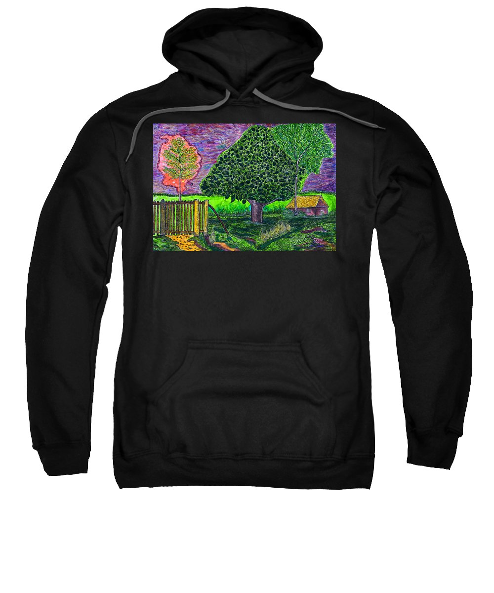 Landscape Sweatshirt featuring the painting Home by Alex Art and Photo