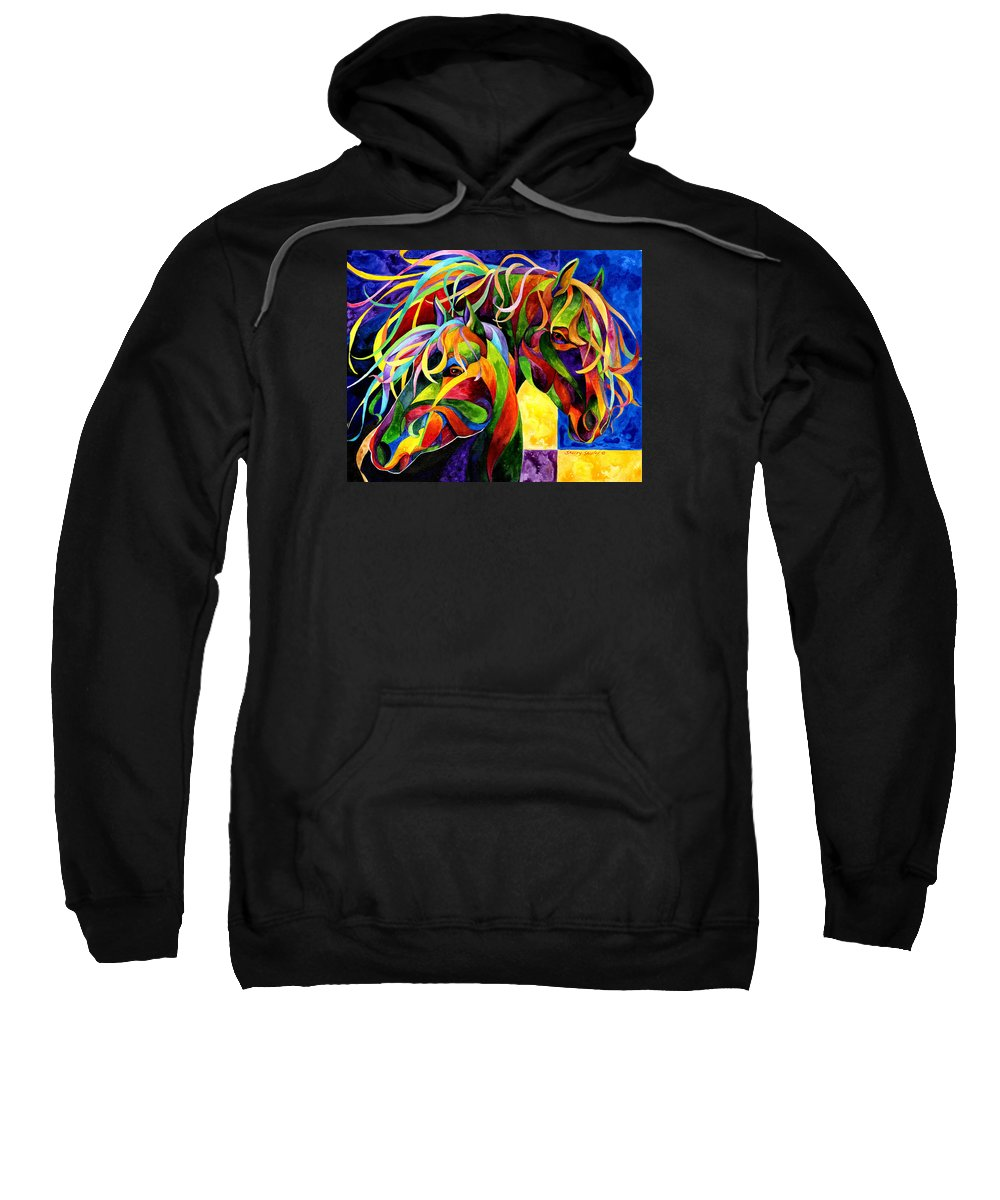 Horse Sweatshirt featuring the painting Horse Hues by Sherry Shipley