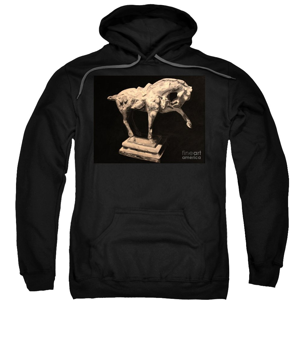 Horse Sweatshirt featuring the painting Horse Statuette by Alisa Bogodarova