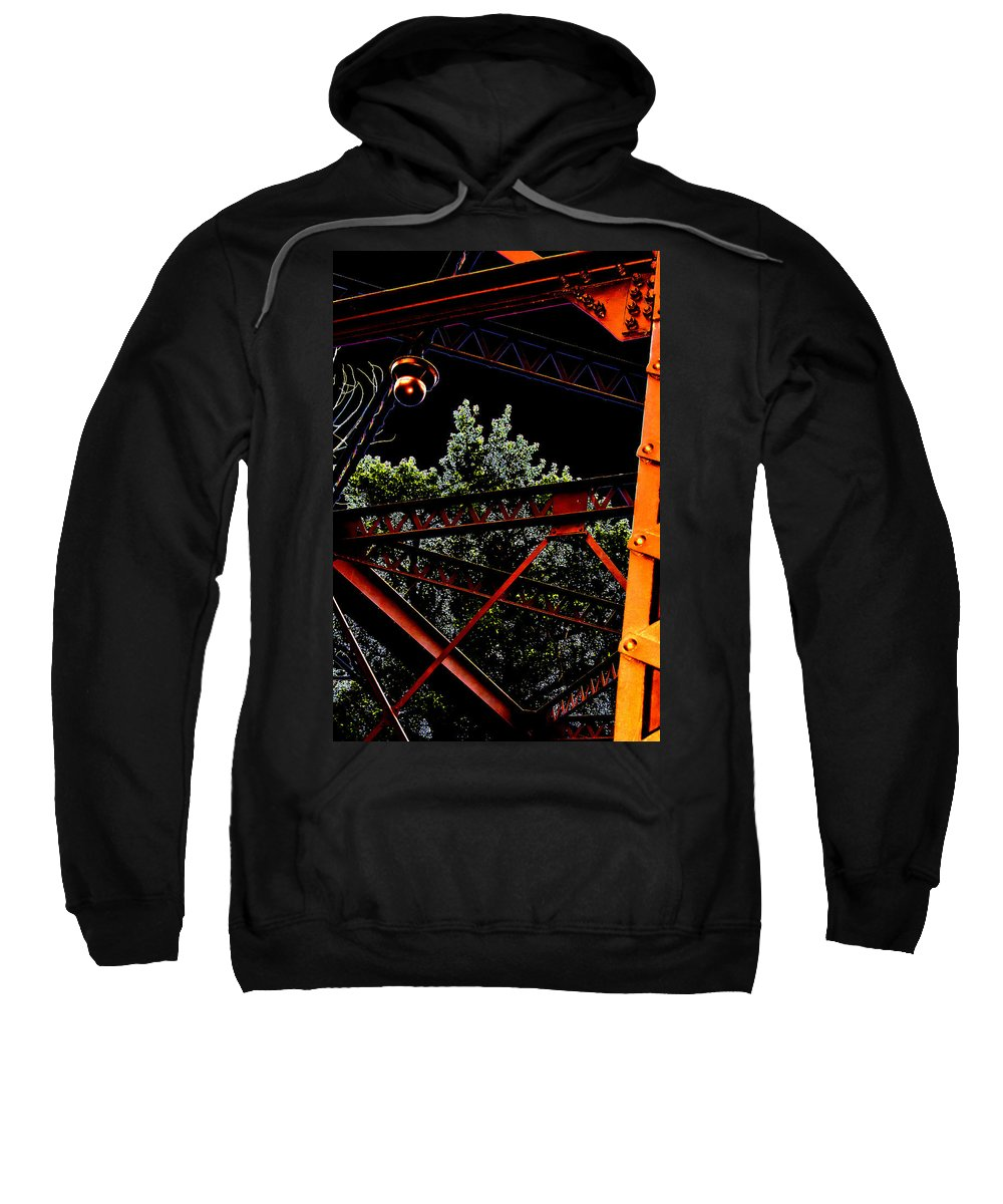 Sweatshirt featuring the photograph Hot Bridge At Night by Cathy Anderson