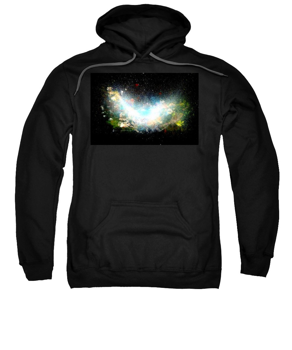 Hubble Sweatshirt featuring the painting Hubble Birth Of A Galaxy by Katy Hawk