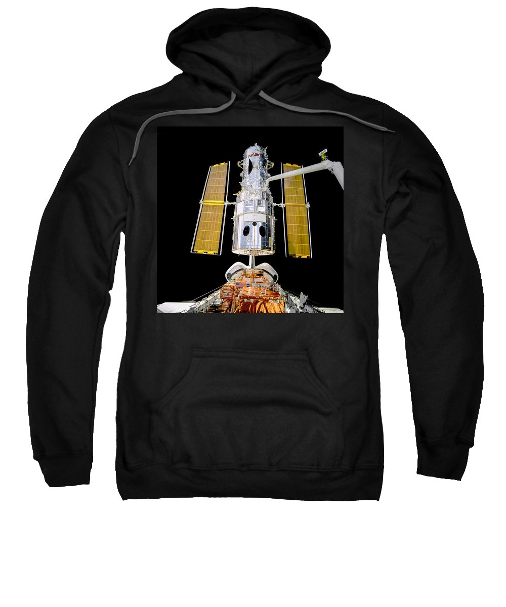 Sts-82 Sweatshirt featuring the photograph Hubble Space Telescope Redeployment by Chad Rowe