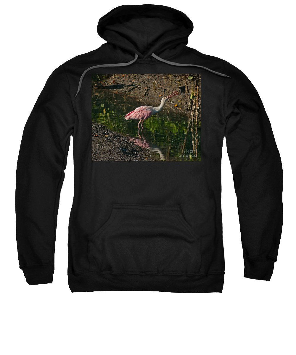 Spoonbill Sweatshirt featuring the photograph Hungry Pink Spoonbill by Stephen Whalen